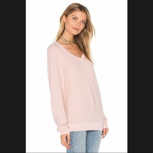 Wildfox Solid Pink V Neck Baggy Beach Jumper